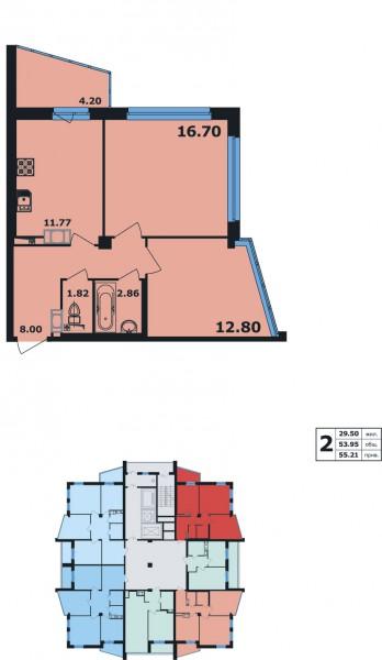 Планировка Двухкомнатная квартира площадью 55.21 кв.м в ЖК «Ленинский Парк»