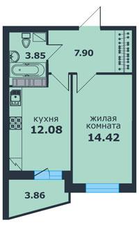 Планировка Однокомнатная квартира площадью 40.07 кв.м в ЖК «Ленинский Парк»