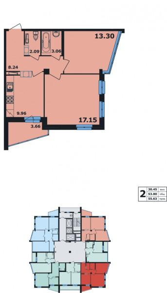 Планировка Двухкомнатная квартира площадью 55.63 кв.м в ЖК «Ленинский Парк»